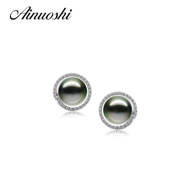 AINUOSHI 925 boucles d'oreilles clous en argent Sterling de forme ronde naturel mer du sud perle de Tahiti noire 9-9.5mm boucles d'oreilles clous de perles rondes