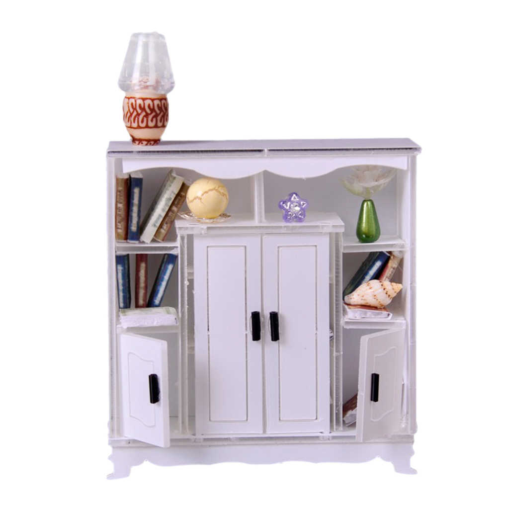 1/12 Dollhouse Miniature Furniture Display Cabinet Lamp Books Room Accessory
