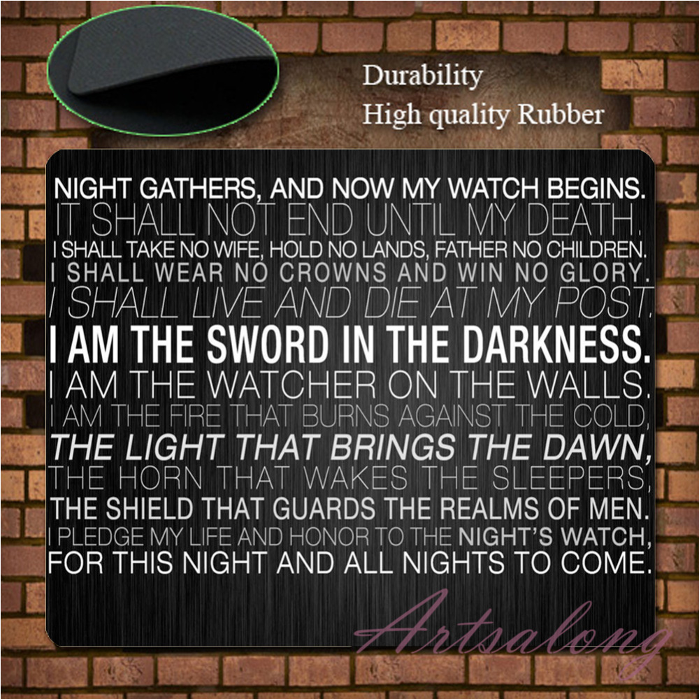 Game of Thrones Fan Night's Watch for Sale Quote Oath Wallpaper Custom  Mousepad Rubber 3d Gaming Mouse Pad Mat Free Shipping|game microphone|game  pinballgame phone - AliExpress