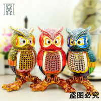 European painting crafts, metal crafts Enamel painted owl,desktop Decoration home ornaments gift(A428)