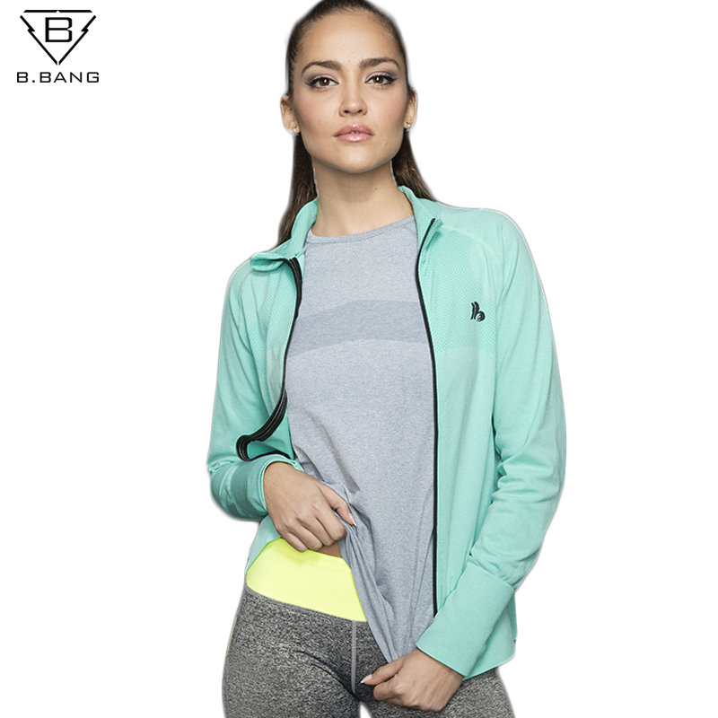 B.BANG Women Sports Running Jackets Sport Coats Zipper Sportswear With Thumb Clothes Running Fitness Outerwear chaquetas mujer ...