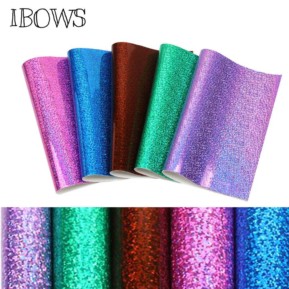 IBOWS 22*30cm Faux Snythetic Leather Laser Holographic Vinyl Leather Sheet for DIY Hair Bow Crafts Accessories Hand Bags Fabric