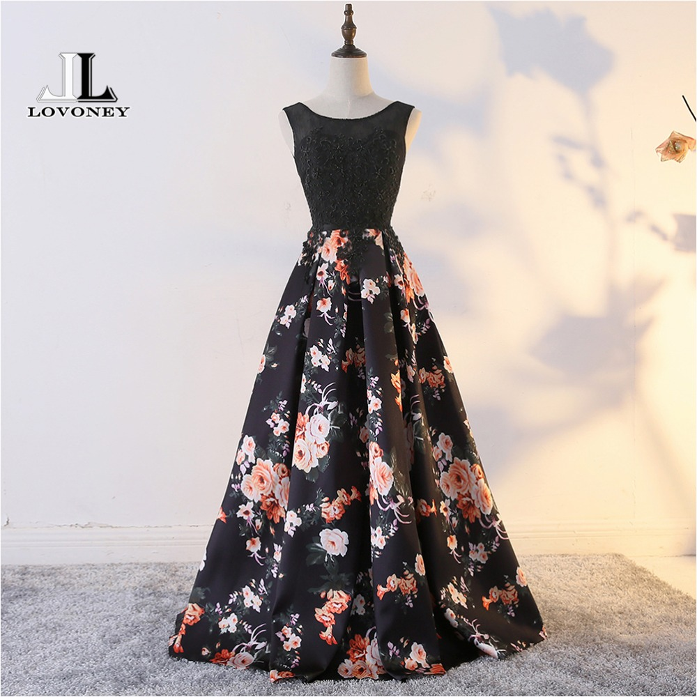 LOVONEY Sweep Train Flower Pattern Lace Evening Dress Long Party Dresses Evening Gown Lace-Up Back Vestido De Festa M213