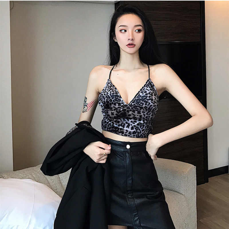 7e6117be4d18ae Leopard velvet camisole female autumn and winter 2018 new sexy strapless  bottoming sleeveless shirt inside