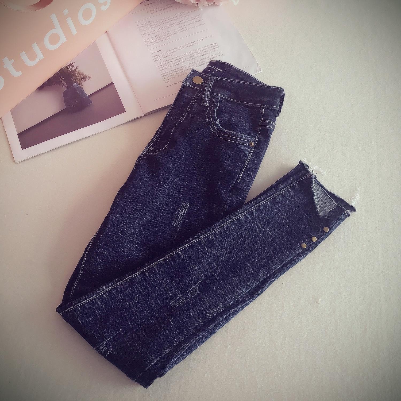 S M L XL 2017 spring new fashion personality washes rivet grasps grain denim skinny pencil pants skinny jeans