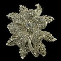 Elegant Style Large Leaf Flower Bridal Brooch Rhinestone Crystal Diamante Pins Vintage Silver Tone