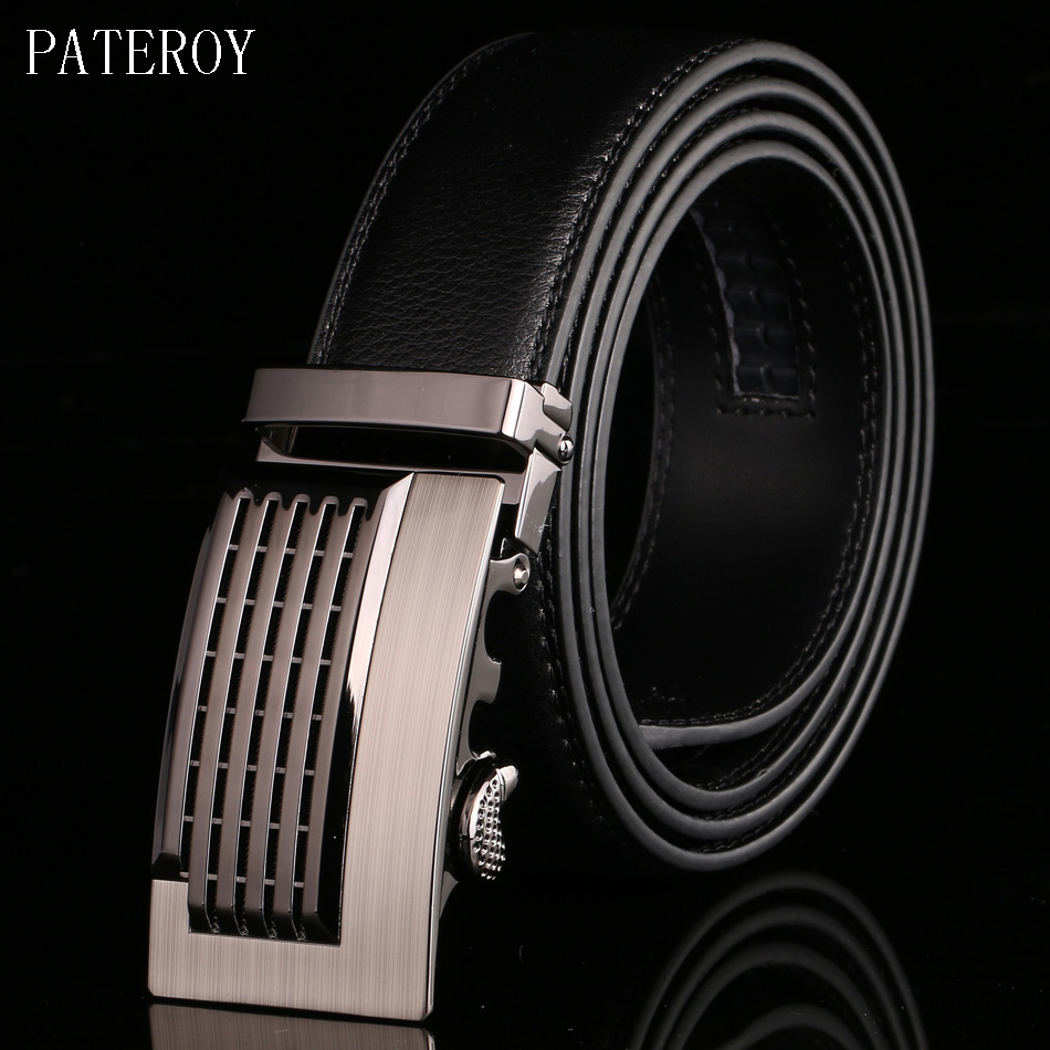 PATEROY Mens Belt Brand Designer Men Belts Cowhide Genuine Leather Belts For Men Luxury Automatic Buckle Strap Cinturones Hombre