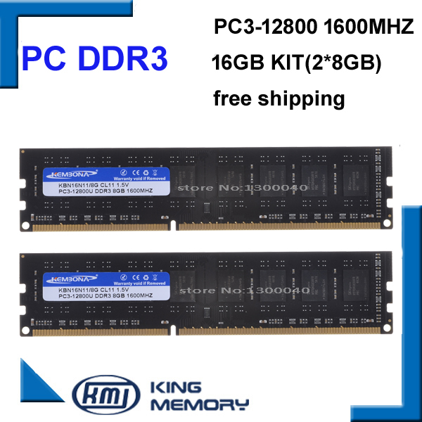 KEMBONA shipping free DDR3 16GB 1600mhz Kit of 2 2X 8GB DDR3 for Dual Channel PC3