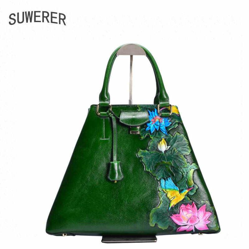 ca484413c910 SUWERER 2019 новых женщин сумка натуральная кожа бренды ручной работы  тиснение цветок Мода Теплые tote женские