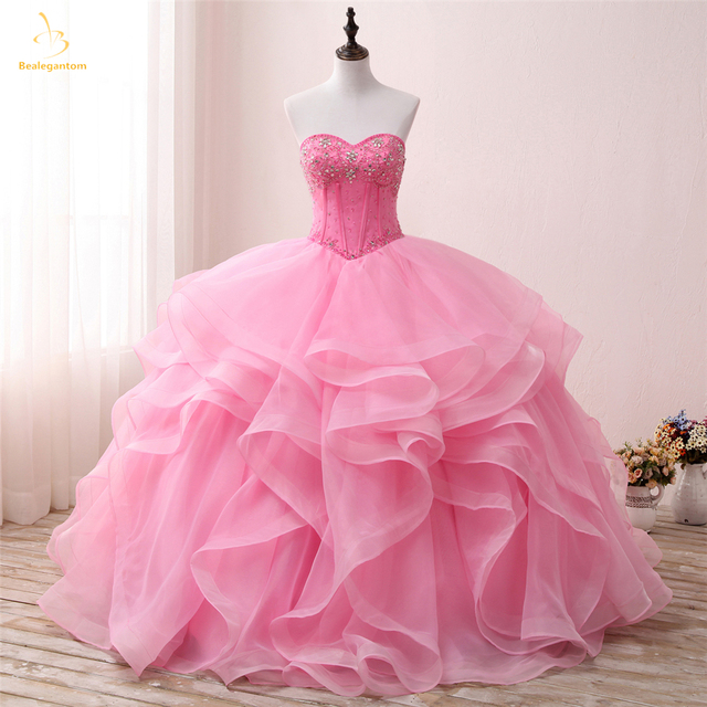 18ff128f7e9 Bealegantom New Pink Sweetheart Quinceanera Dresses 2019 Ball Gown With Beaded  Crystal Sweet 16 Dress Vestidos De 15 Anos QA1307
