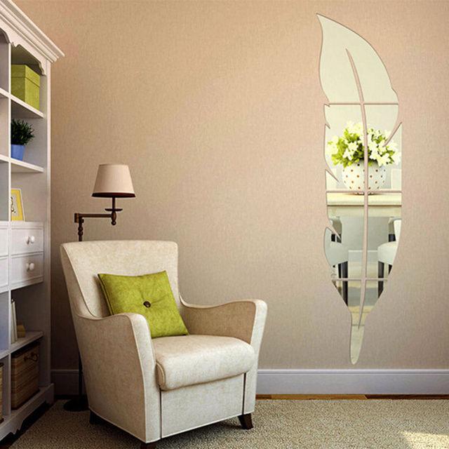 DIY Modern Acrylic Wall Stickers 3D Spiegel Feder Wandaufkleber Wandtattoo  Wandsticker Zimmer Deko Abnehmbare