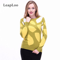 LeapLoo Female Cashmere Sweater Autumn Sweater Women Casual Patchwork O Neck Long Sleeves Knitted Pullovers Office
