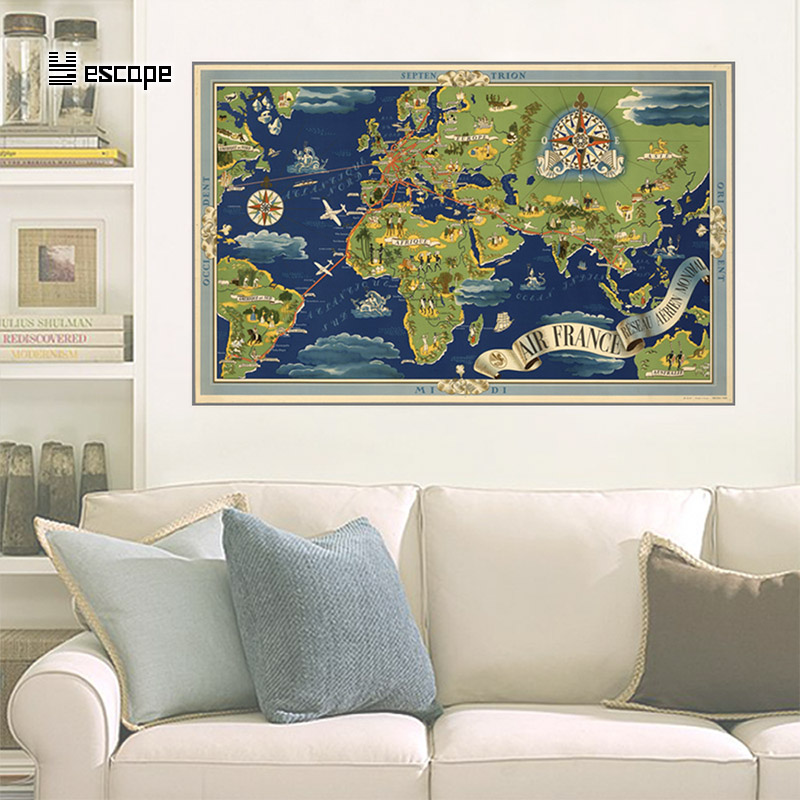US $5.79  48*76cm Large World Map vintage Wall Sticker Poster Living Room  Art Crafts World Maps wall sticker posters world for wall Maps-in Wall ...