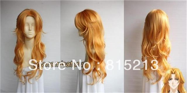 FREE SHIPPING>>> S233 Bleach Matsumoto Rangiku Long Orange Mix Curly Cosplay Wig