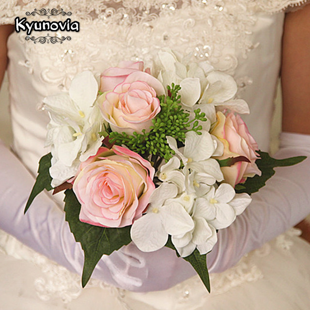 Kyunovia Natural Hydrangea Roses Boho Bridesmaid Wedding Bouquet