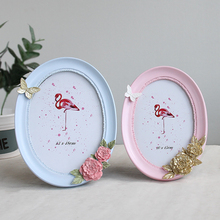 Stereo Flower Photo Frame Oval Shape Picture Frame On Table Home Decoration Resin Frames Pastoral Style cadre photo 6/7/8 Inch success style polyresin photo frame 4 x 6 picture
