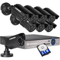 DEFEWAY 1080N HDMI DVR 1200TVL 720 마력 HD 야외 홈 보안 카메라 시스템 8CH 비디오 감시 DVR 1 테라바이트 HDD 달리 CCTV 키트