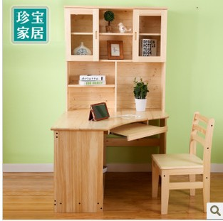 All Wood Desk Pine Desk Bookshelf Combination Corner Bookcase