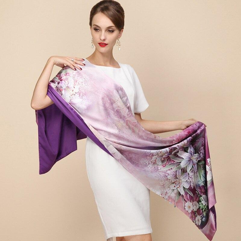 100% Seidensatin Langen Schal Doppelschicht Frühjahr Schal Pashmina Frauen Luxus Schals Schal Marke hochwertige Printted Hijab