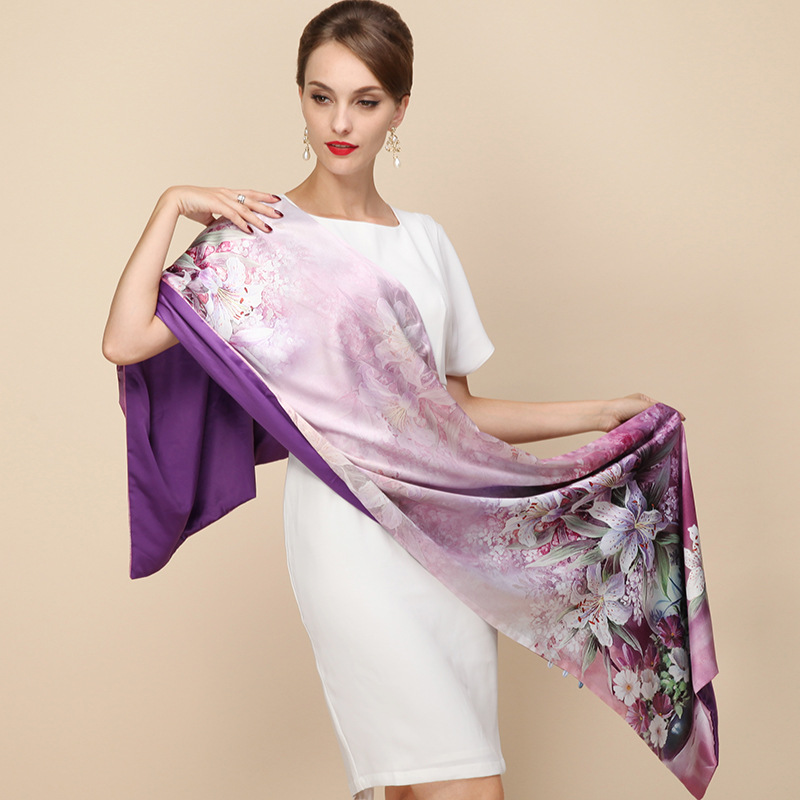 100% Silk Satin Long Scarf Dubbelskikt Fjäder Sjal Pashmina Women Luxury Scarves Brand Scarf High Quality Printted Hijab