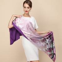 100 Silk Satin Long Scarf Double Layer Spring Shawl Pashmina Women Luxury Scarves Brand Scarf High
