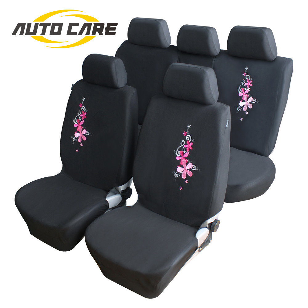 Flower Embroidery Car Seat Covers Universal Fit 9PCS Full Set Car Seat  Protector For Front & Rear Seat Interior Auto Decoration(China)