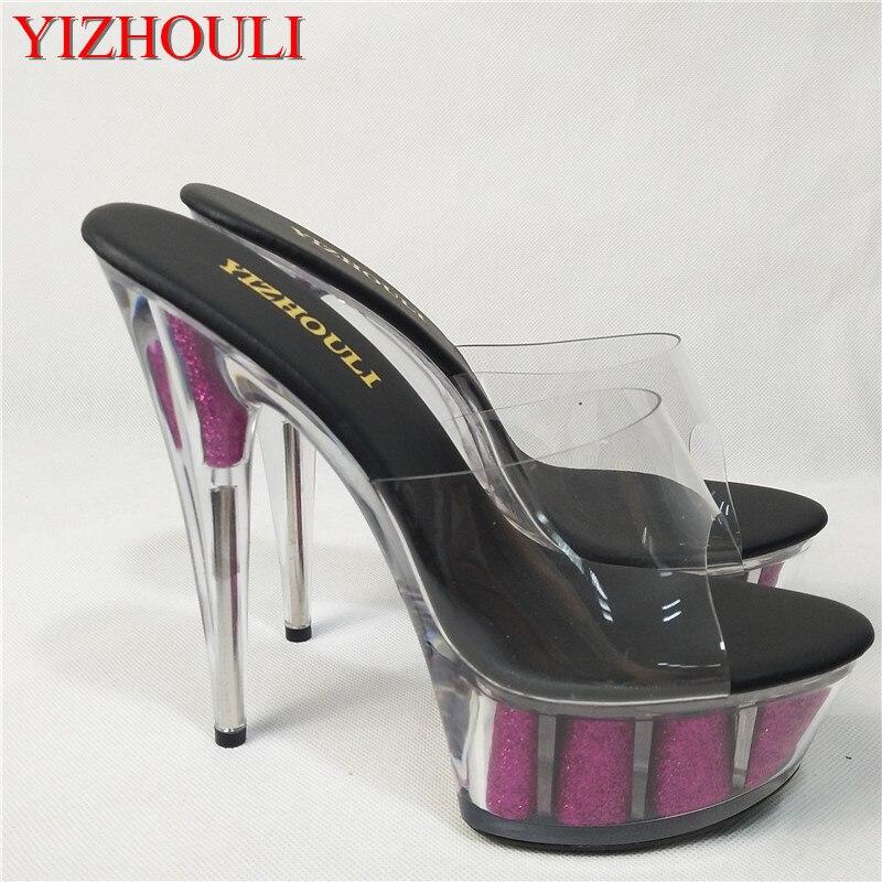 크리스탈 슬리퍼 15 cm 스틸 레토 힐, 여성용 라운드 헤드 투명한 무대 샌들을위한 6 인치 클럽 힐-에서슬리퍼부터 신발 의  그룹 1