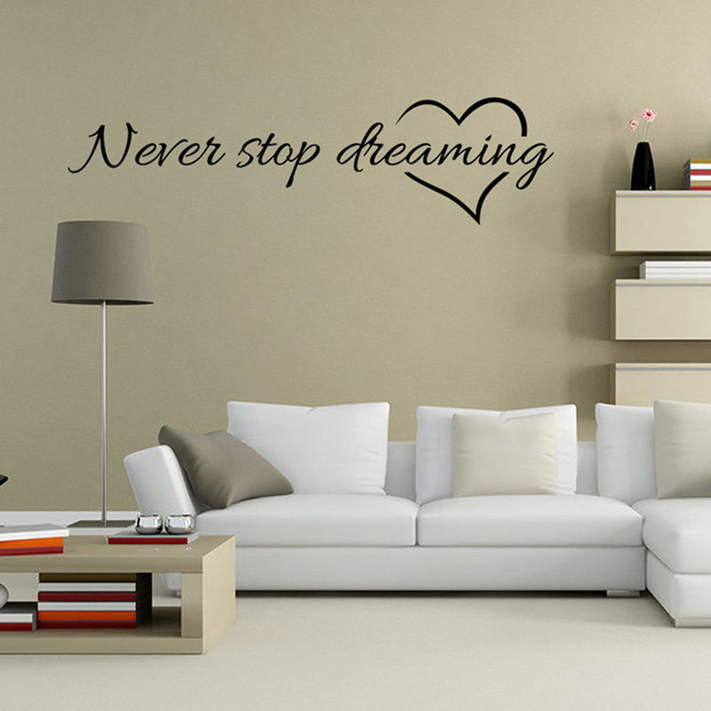 Never Stop Dreaming Inspiring Quote Removable Wall Sticker Vinyl Decal Mural Art Home Decor Home Decor Vinyl Decalinspirational Quotes Aliexpress