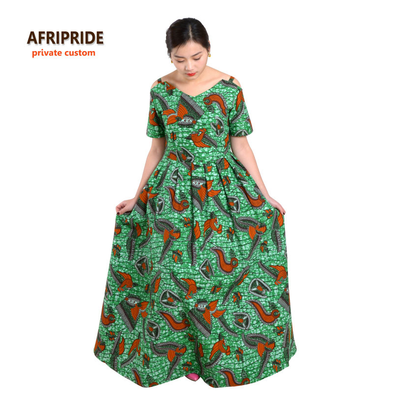 فساتين الأفريقية للنساء africide الكلاسيكية التقليدية قصيرة الأكمام ماكسي فستان عارضة النساء أنقرة طباعة الباتيك القطن A622512