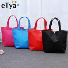 eTya New Foldable Shopping Bag Reusable Tote Pouch Women Travel Storage Handbag Fashion Shoulder Bag Female Canvas Shopping Bags(China)