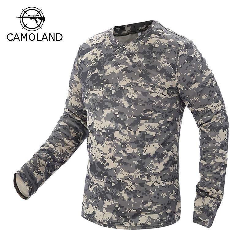 2017 nova camuflagem militar tático t camisa masculina respirável secagem rápida do exército dos eua combate manga completa outwear camiseta para homem