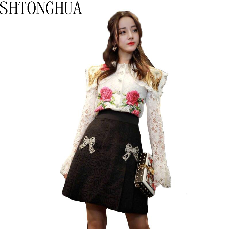 Runway New Luxury Handmade Vintage Floral Embroidery Lace Blouse Skirt Suit Women Blouses Tops Shirt Sequins