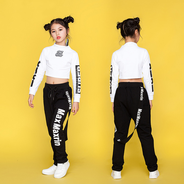Детские джазовые танцевальные костюмы, Одежда для танцев в стиле хип-хоп для девочек, хлопковая детская одежда с длинными рукавами для уличных танцев, сценические костюмы DN1767