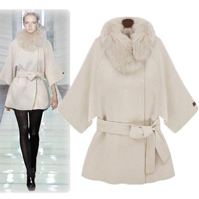 ZADORIN abrigos de lana para mujer 2019 sólido tres cuartos manga piel  cuello abrigo elegante Vintage blanco capa gabardina
