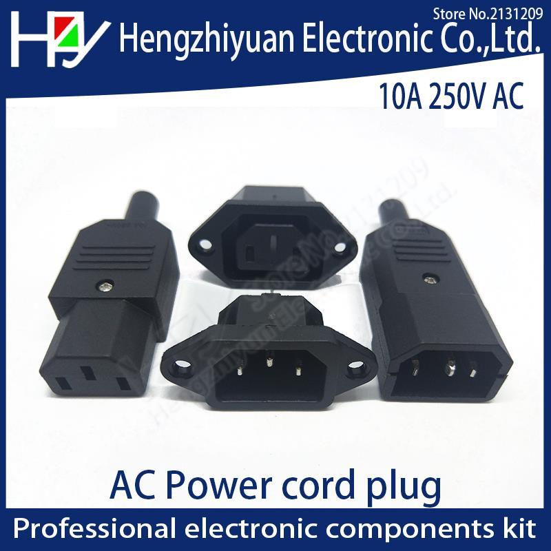 Hzy 2PIN 3PIN Core Power Line Plug Male Female Pin Plug Socket Charging Extension Line Plug Power Plug AC 10A 250V IEC 320 C13
