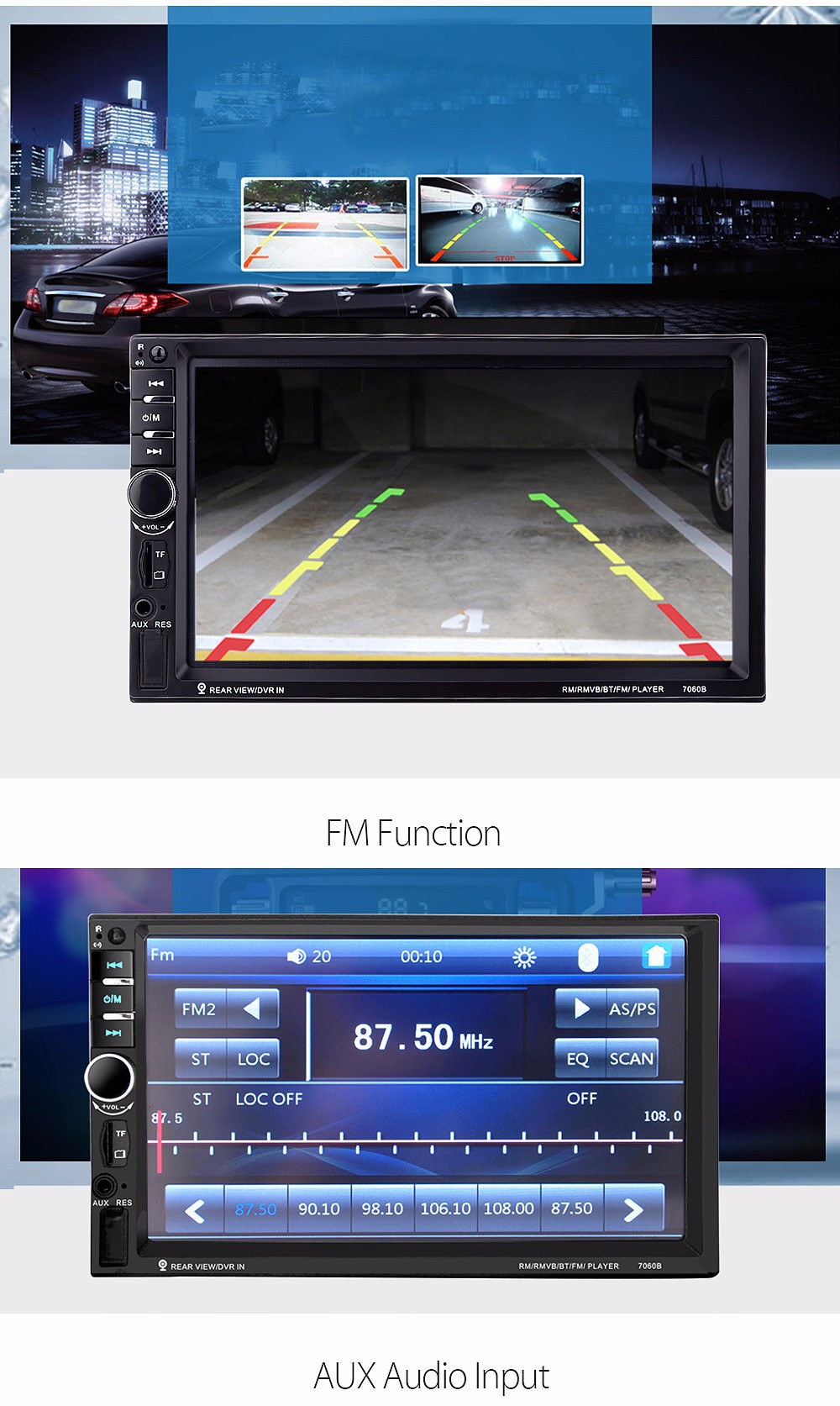 7060B 7 inch Car Audio Stereo MP5 Player 12V Auto Video Remote Control with  Rearview Camera