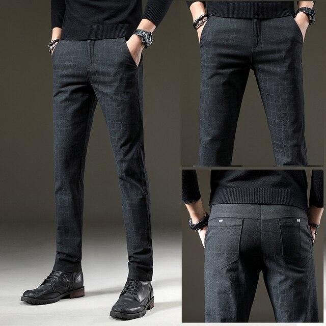 Pants Men Casual Elastic Trousers Male Cotton plaid straight Large big size 28-38 1
