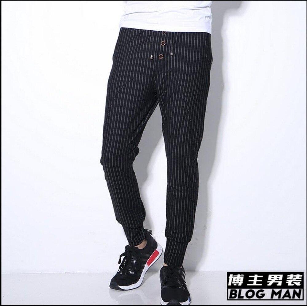 Hommes crayon d'été de pantalon occasionnel crayon Hommes pantalon noir rayé 7f31d4