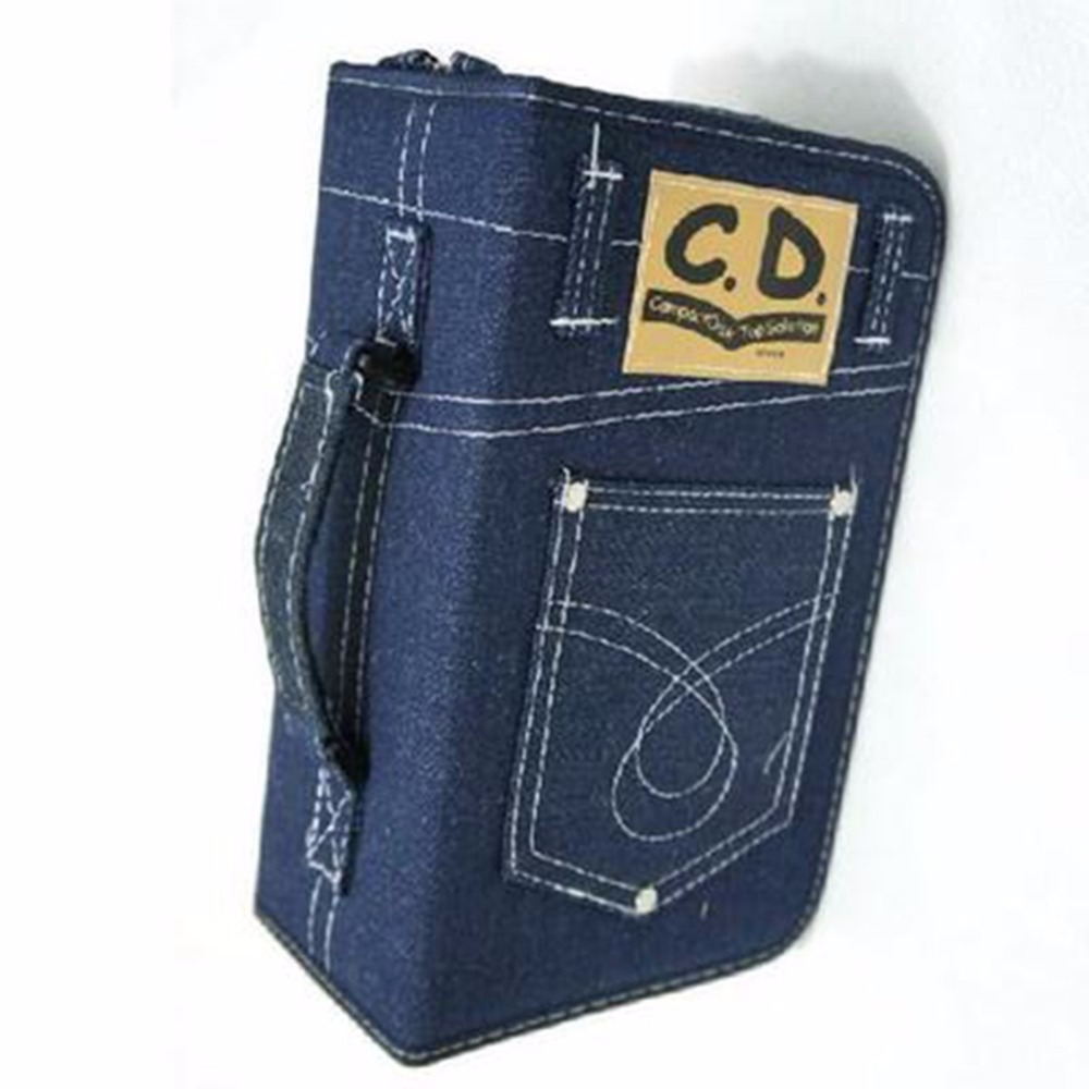 Denim Jeans Fabric Portable 128pcs Capacity Disc CD DVD VCD Wallet DJ Storage Organizer Bag Holder Creativity Album Bag