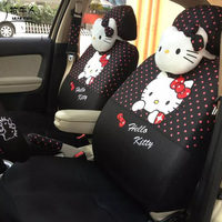 18pcs Polka Dots Hello Kitty Car Seat Covers For Women Universal Sandwich Car Styling Interior Accessories