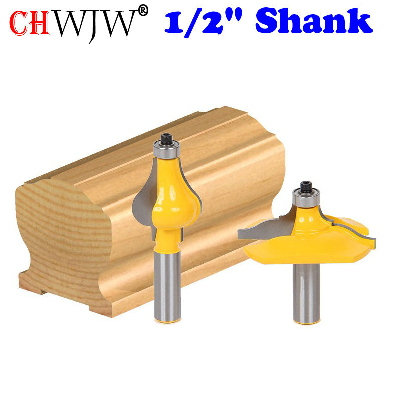 2 Bit 1/2 Shank Handrail Router Bit Set - Classical Ogee/Flute Woodworking cutter Tenon Cutter for Woodworking Tools 2 bit jewelry box side and foot mold router bit set 1 2 shank woodworking cutter tenon cutter for woodworking tools