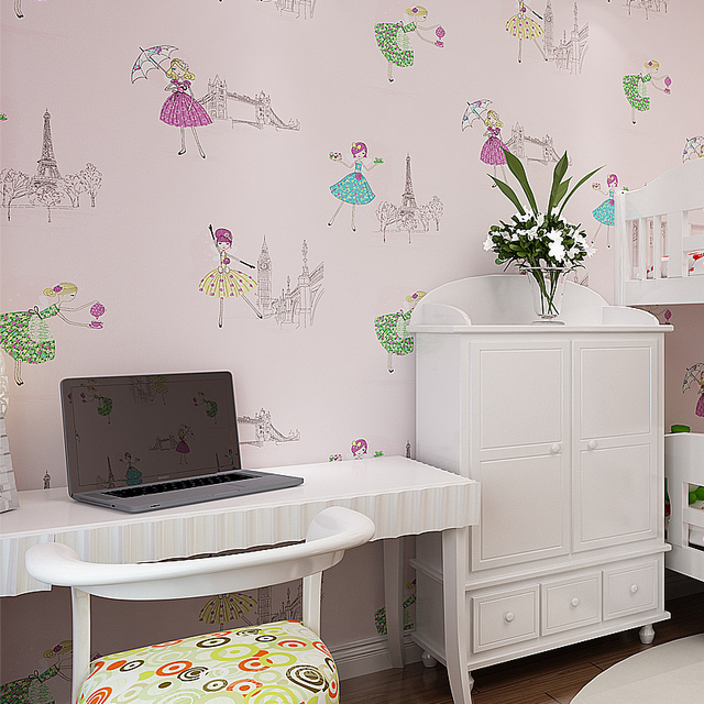 Environmental non-woven wallpaper children's room bedroom wallpaper cartoon princess ballet girl pink wallpaper room