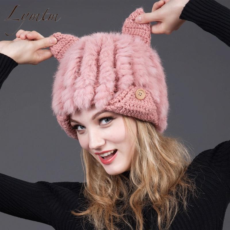[Lymtm] 2018 Cute Rabbit Fur Winter Hats For Women With Cat Ears Knit Beanie Warm Caps Fashion Female Earflap Skullies Beanies
