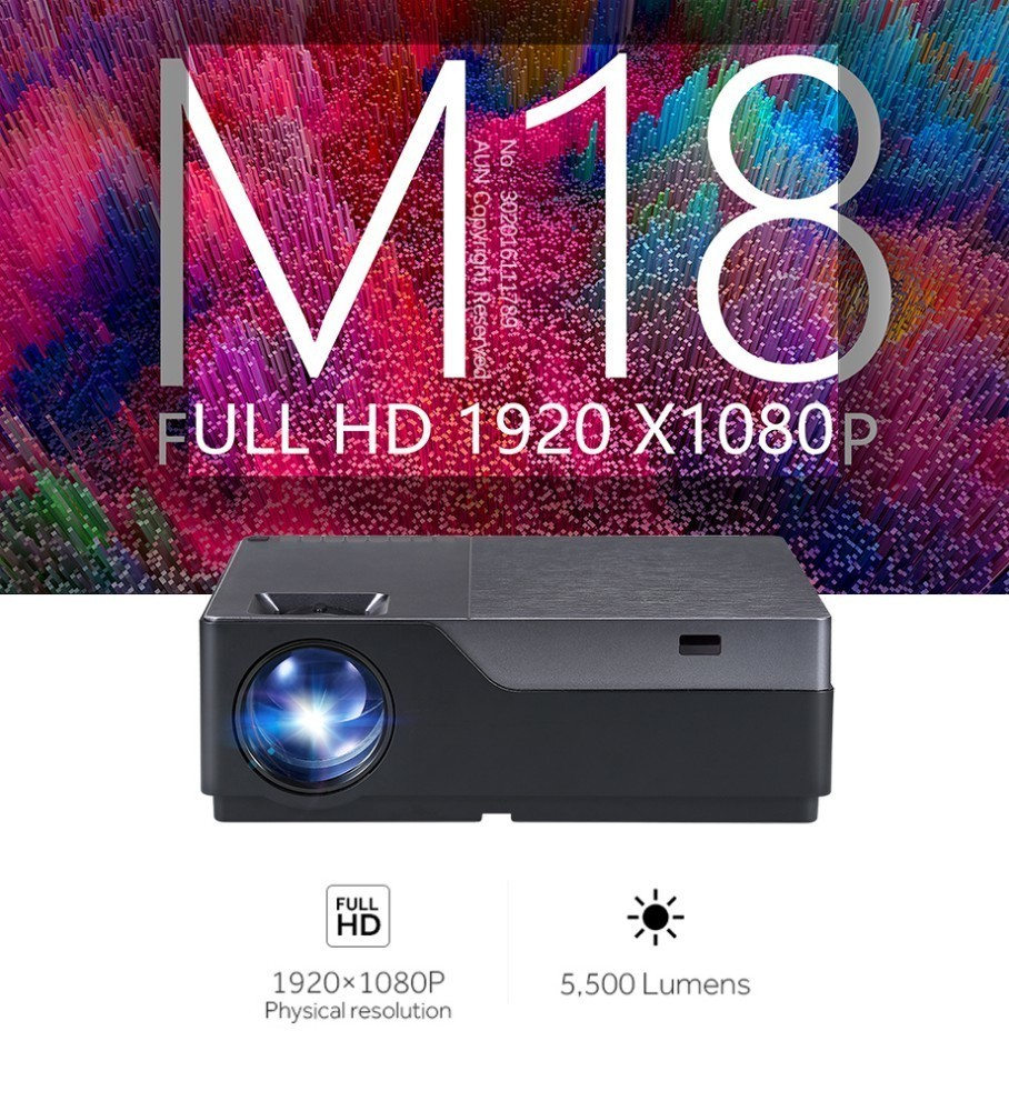 AUN Full HD M18/M18UP 1920x1080P Resolution Mini Projector With WIFI And LED 1