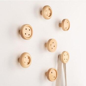 Ganchos de pared de botón nórdico, llaves de colgador de pared de madera, gancho de abrigo creativo, decoración del hogar, ganchos de pared, tendedero de pared, decoración del hogar