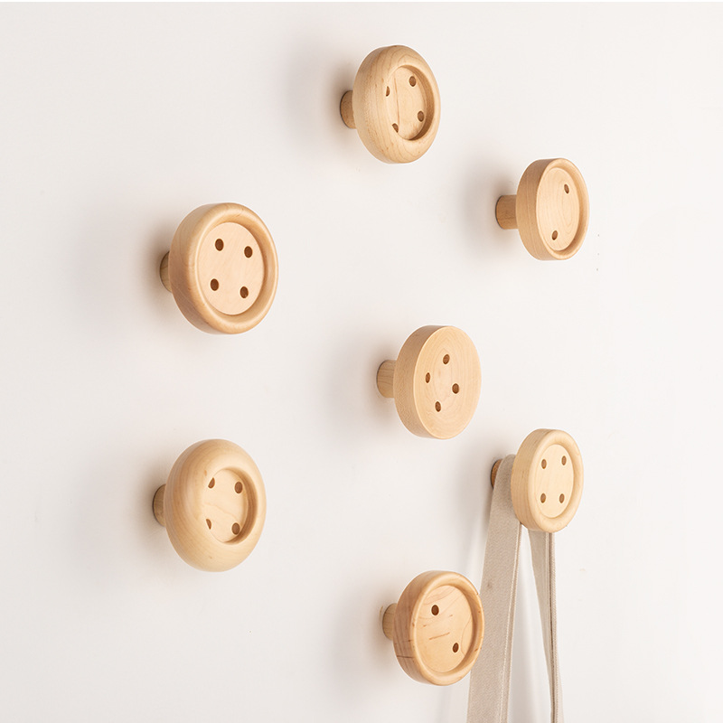 Nordic Button Wall Hooks Wood Wall Key Hanger Creative Coat Hook Home Decoration Wall Hookup Clothesline Home Decoration