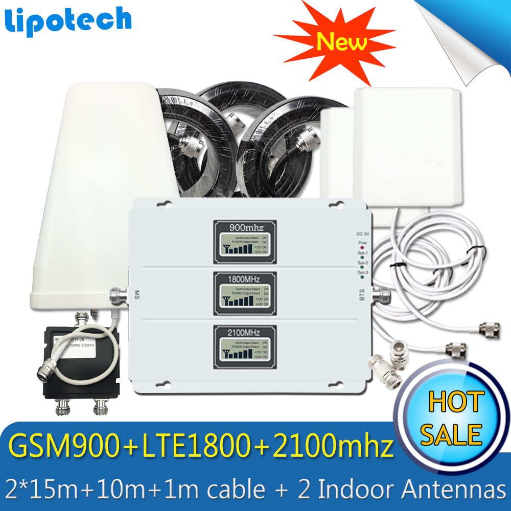 2 3G 4G Lintratek Tri-Band Antenas Indoor 2G 3G 4G Reforço de Sinal De Celular GSM 900 1800 LTE WCDMA 2100 Repetidor de Sinal de Celular