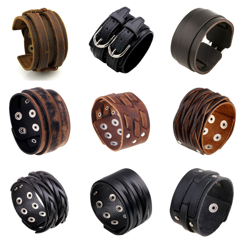 Modyle Vintage Punk Retro Multilayer Leather Bracelet Male Braided Rope Wrap Bracelets Bangles Men