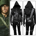 Green Arrow Oliver Queen Cosplay Costume Black Halloween Hoodies with Quiver