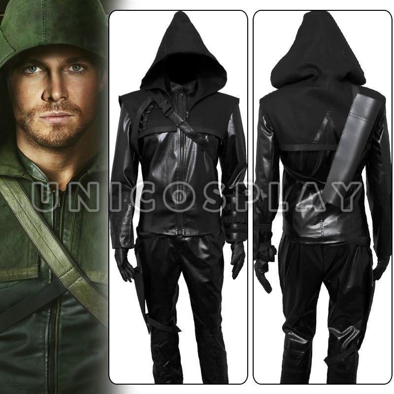 Green Arrow Oliver Queen Cosplay Costume Black Halloween